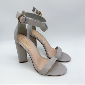 LULU'S light gray strappy heels, 9.